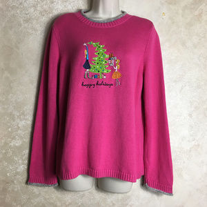 Size Large Pink Christmas Sweater Pullover